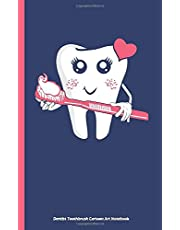 """Dentist Toothbrush Cartoon Art Notebook: Pink Heart, DIY Writing Diary Planner Note Book - 100 Lined Pages + 8 Blank (54 Sheets), Small 5x8"""""""