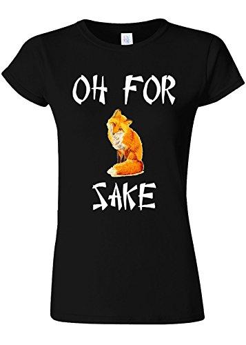 うんざり合併近くOh For Fox Sake Funny Novelty Black Women T Shirt Top-XXL