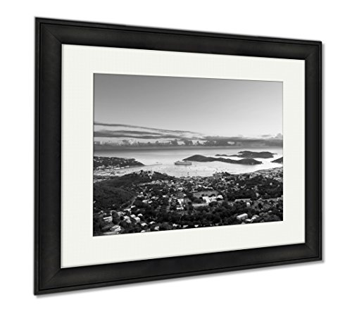 Ashley Framed Prints Town Of Charlotte Amalie And Harbor, Office/Home/Kitchen Decor, Black/White, 30x35 (frame size), Black Frame, - At Town Harbour Shops