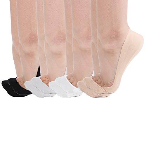 High Shoes Ballet Heel - Women's 8 Pairs TRULY No Show Socks Ultra Low Cut Non Slip Cotton for High Heels Flats (2black+2white+2beige+2grey)