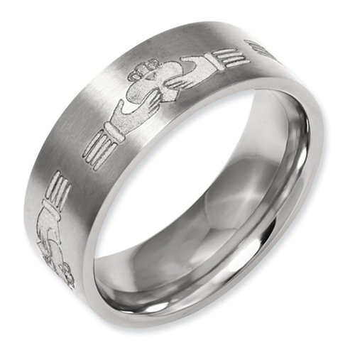 - 8mm Brushed Finish Flat Pipe Cut Laser Engraved Claddagh Design Titanium Wedding Band - Size 13