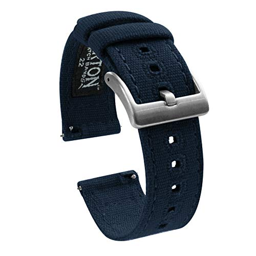 Barton Canvas Quick Release Watch Band Straps - Choose Color & Width - 18mm, 20mm, 22mm - Navy Blue 18mm ()