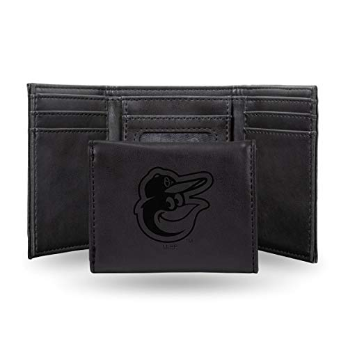 Rico Baltimore Orioles MLB Laser Engraved Black Trifold Wallet ()