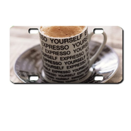 Expresso Coffee lovers Mini License Plate motorcycles, ATVs, bicycles and kiddie cars. Great Gift Idea (Expresso Plate compare prices)