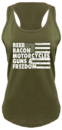 Comical Shirt Ladies Racerback Tank Beer Bacon Motorcycles Guns & Freedom Tee Gun Rights Military Green (Ladies Motorcycle Apparel)