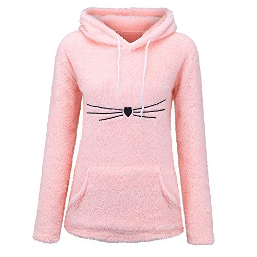 URIBAKE Women's Soft Fluffy Hoodie Solid Long Sleeve Kangaroo Pocket Cute Design Hooded Sweatshirt Pullover