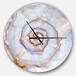 Designart Skeleton of Sea Shell' Oversized Coastal Metal Clock, Circle Wall Decoration Art, 23x23 Inches, White