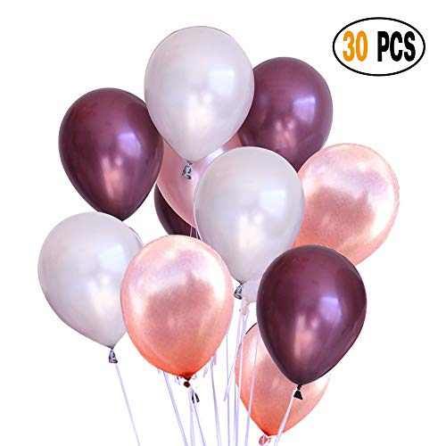 DIvine 30 Pcs Assorted Color Latex Balloons - 12 Inches Burgundy Rose Gold and White Party Decorations Balloons Set for Wedding Birthday Baby Showers Valentines Day Festival Events