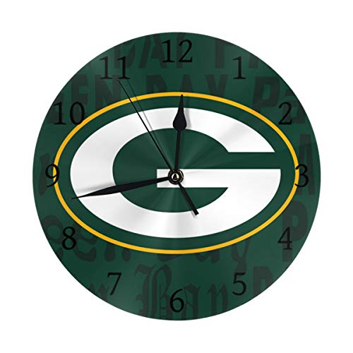 Gdcover Custom Green Bay Packers Quartz Wall Clock Arabic Numerals Silent Non-Ticking for Home Living Room Decor (9.8 - Green Packers Room Bay Custom