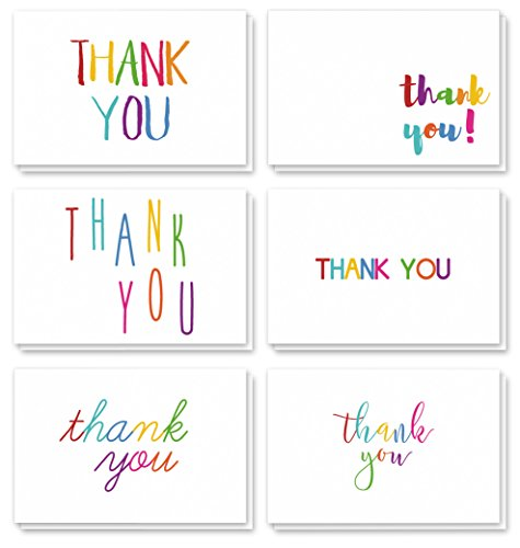 Thank You Cards - 48-Count Thank You Notes, Bulk Thank You Cards Set - Blank on the Inside, 6 Colorful Rainbow Font Designs - Includes Thank You Cards and Envelopes, ()