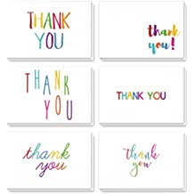 Thank You Cards - 48-Count Thank You Notes, Bulk Thank You Cards Set - Blank on the Inside, 6 Colorful Rainbow Font Designs – Includes Thank You Cards and Envelopes, 4 x 6 Inches