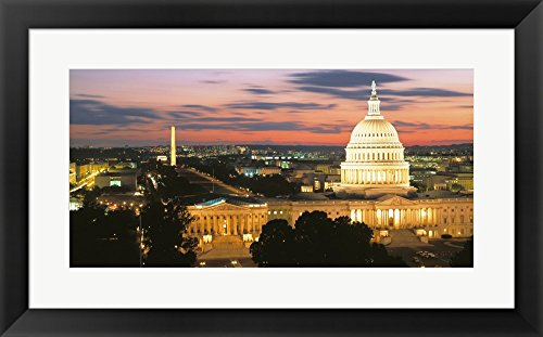 High angle view of a city lit up at dusk, Washington DC, USA by Panoramic Images Framed Art Print Wall Picture, Black Frame with Hanging Cleat, 24 x 15 (Capitol Washington Dc Framed Art)