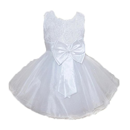 Winsummer Girl Sleeveless Bling Sequins Lace Flower Tutu Holiday Wedding Baptism Princess Dress Outfits Clothes (White, 3T)