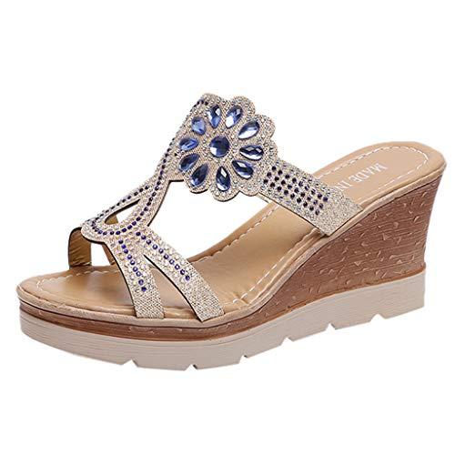 Lloopyting Women's Rhinestone Sandal Shoes Platform & Wedge Sandals Ankle Wrap Fashion Comfort Slip Summer Sandals Blue