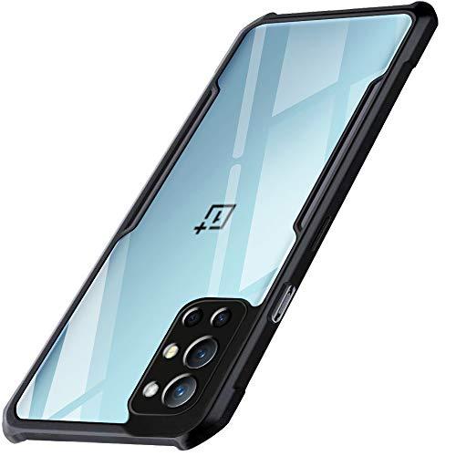 TheGiftKart Back Cover Case for OnePlus 9R (Shockproof | Crystal Clear | Polycarbonate | Transparent Back | Black Bumper)