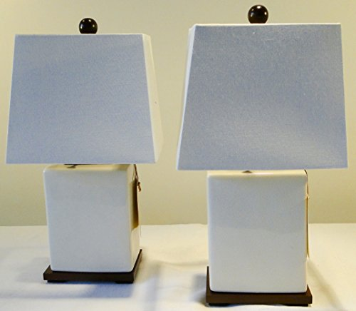Pair of Two Ralph Lauren Ivory/White/Cream Porcelain Crackle Traditional Ceramic Table Lamp