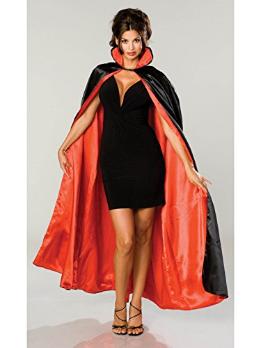 (Rubie's Long Satin Cape,Black/Red,One Size)