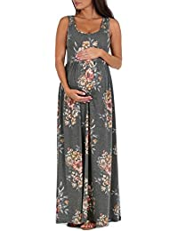 Women's Ruched Sleeveless Maternity Dress Regular and...