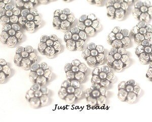 35Pcs Silver Tone Flower Spacer Beads 5.5Mm - Jewellery Findings (Ref:8B26) by Riga