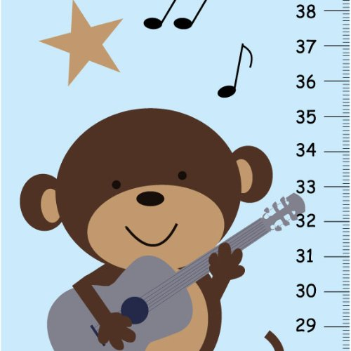 (Kid O Monkey Rock Star Children Personalized Growth Chart with Blue Background Guitar Stars and More )