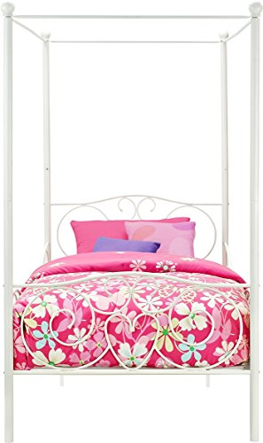 41hzY7iqeeL - DHP Canopy Bed with Sturdy Bed Frame, Metal, Twin Size - White