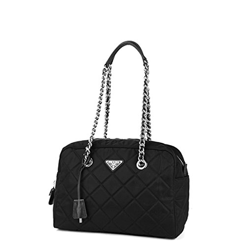 107fe4486747 Prada Tessuto Impuntu Bauletto Quilted Nylon Chain Shoulder Bag BL0903,  Black / Nero