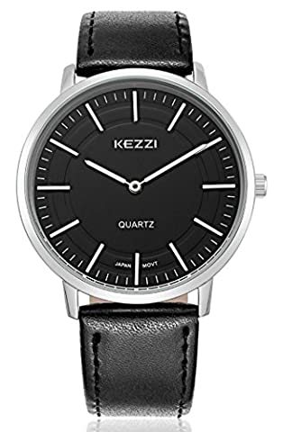 Mens Watches All Black Leather Band Stainless Steel Case Sports Casual Classic Watch Analog Quartz Fasion Waterproof Two Needle (Mens Leather Watches Small)