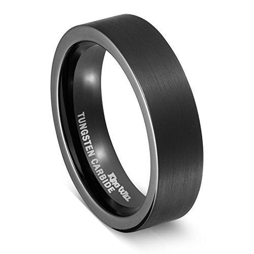 King Will Mens 6mm Tungsten Ring Black Pipe Cut Flat (Tungsten Ring Wedding Band Pipe)
