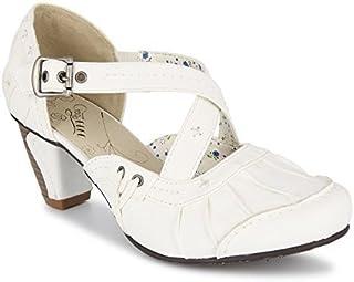 cleostyle Damen Schuhe Riemchenpumps in Weiß mit Seitlicher Schnalle 127 Weiß)
