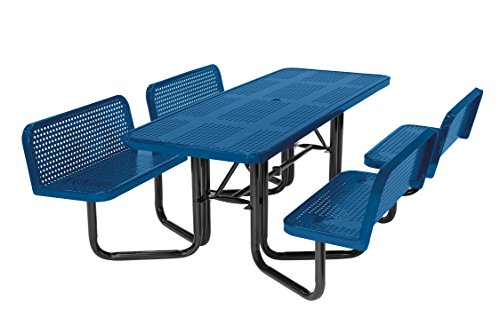 Suncast Commercial MPTPLC8101B Split Bench Metal Picnic Table, Blue