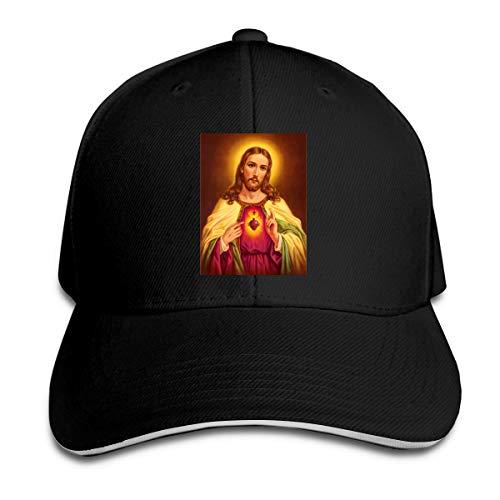(The Sacred Heart Classic Polo Style Baseball Cap All Cotton Made Adjustable Fits Men Women Low Profile Hat Unconstructed Dad Black)