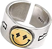 Sterling Silver Smiley Face Ring Open Adjustable Smile Band Ring Cute Wide Chunky Adjustable Vintage Silver Sm
