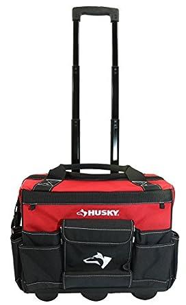 husky rolling tool bags. husky gp-43196n13 18\u0026quot; 600-denier red water resistant contractor\u0027s rolling tool tote bags