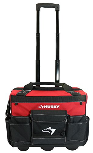 Husky 18 Inch 600-Denier Red Water Resistant Contractor's Rolling Tool Tote Bag w/ Telescoping Handle