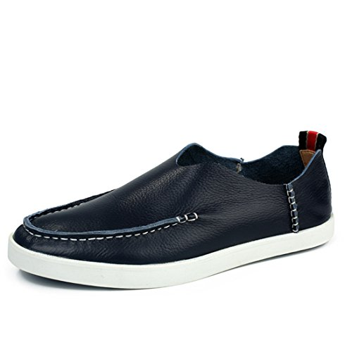 Mens Cowskin Slip On Boat Shoes Mocassino Classico Guida Mocassini Scarpe Mt-819 Blu Scuro