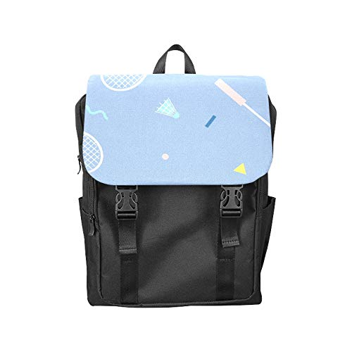 Fashion Flip Cover Notebook Badminton Racket Entertainment Motion Print Laptop Backpack Travel Men Women Business Computer Backpack Oxford Fabric Vintage School Shoulder ()