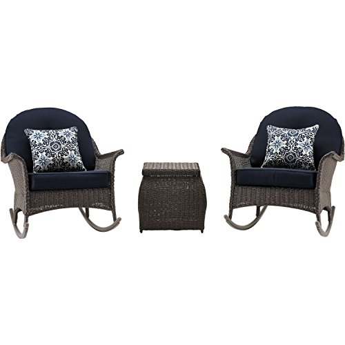 Hanover San Marino Rocking Chat Set (3-Piece) Navy SMAR-3PC-NVY