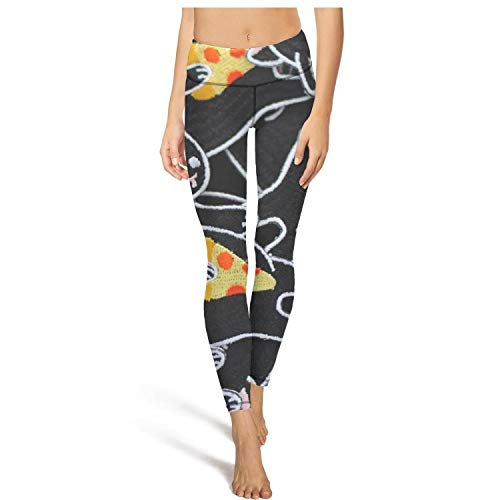 (CHALi99 Leggings Womens Pajama Pants Black Mr Cat Hawaiian Pizza Vegetarian Yoga Pants)