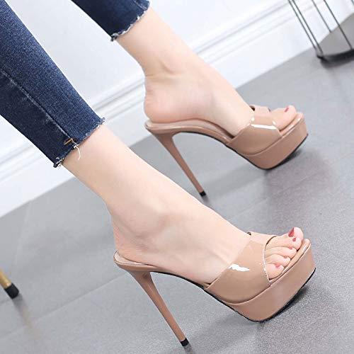 Moda Sandali Spillo Wear Donna Fagioli Tacco Chiari A Stiletto Super Pantofole Impermeabili Hrcxue 12cm High Di Scarpe Pasta Heel Sexy Da Y0Sqw