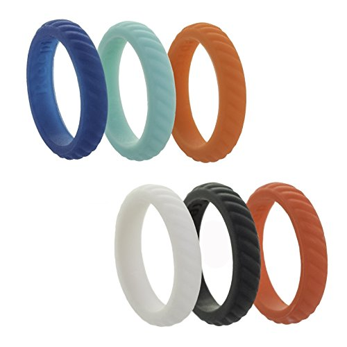 Silicone Wedding Ring for Women Silicone Wedding Band - 6 Pack - Rubber Stackable Diamond Rope Jewel Brick Design (Rope - White,Navy,Grey,Turquose,Coral,Orange, 5)