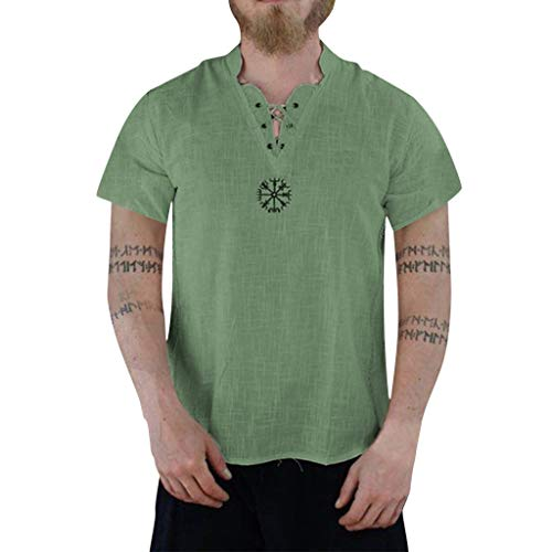 Men's Summer Fashion Pure Cotton and Hemp Short Sleeve Comfortable Top Green (Dj Dresser)