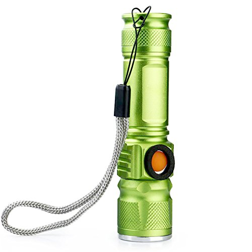 Setrouyo Super Bright LED Rechargeable USB Tactical Flashlights Lighting Inbuilt Lithium Batteries for Backpacking Walking Biking Rescue Adventure (Color : Green)
