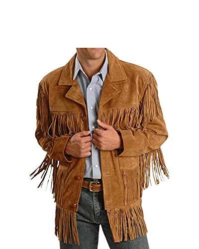 Men Western Fringe Jackets Men Brown Fringe Jacket Men Cow BOY Suede Jacket (L)
