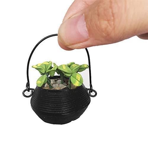 Kids Toys Dollhouse Vivid Green Plants Banana Tree Dollhouse Artificial Miniature Plant 1/12 Scale in Terracotta Pot Fairy Garden Accessory (As Shown) ()