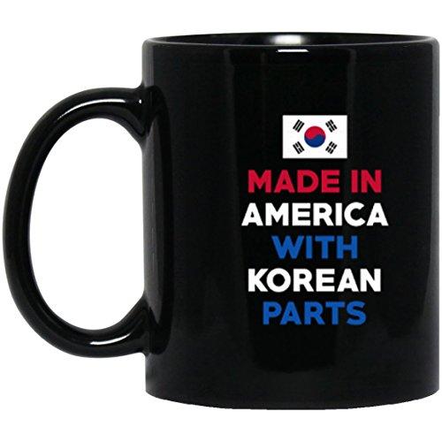 (SkyUp Mugs - Made In America With Korean Parts - Funny - 11 Ounce Black Ceramic Coffee or Tea Mug)