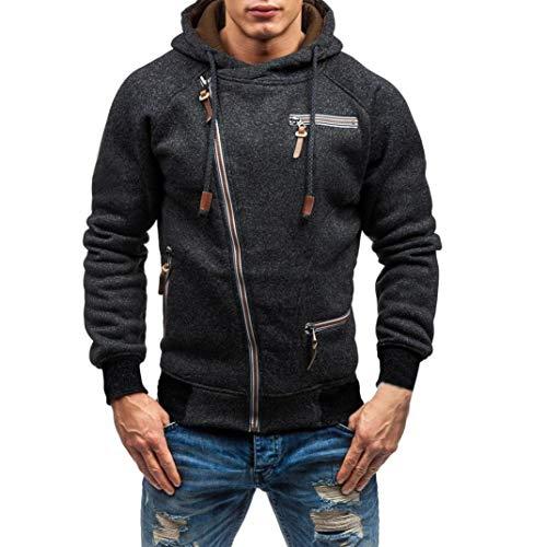 Realdo Mens Sweatshirt, Cool Casual Autumn Winter Solid Slim Zipper Hooded Sweatshirt Outwear Tops Blouse(Medium,Black)