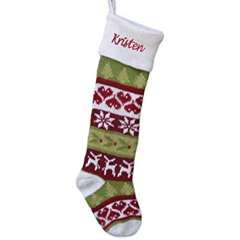 Amazon.com: Wool Christmas Stockings - Red Cuff - Hand Knitted ...