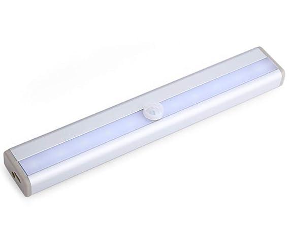 10 LED Chips Luz Nocturna para Armario USB Recargable,Movimiento Sensor,Automáticamente Encendido/Apagado Aplicar A Gabinete Alacena Cajón Cocina Garaje ...