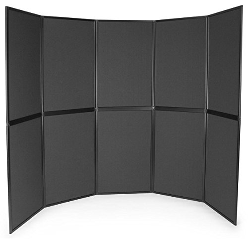 10-Panel Trade Show Display with Black Aluminum Frame, Easy Setup, Carrying Bags Included, Double-Sided - Black and Gray Hook & Loop-Receptive Fabric (Frame Display Panel Aluminum)