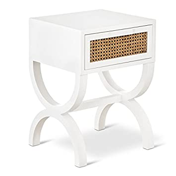 Threshold Modern Retro Accent Side Table With Cane Wicker Detail, White